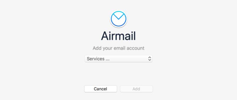 Air Mail 3 Add Accounts Screen