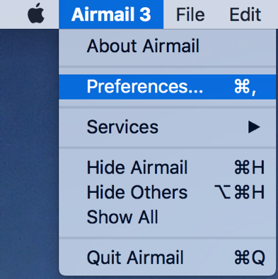 Air Mail 3 Preferences Dropdown