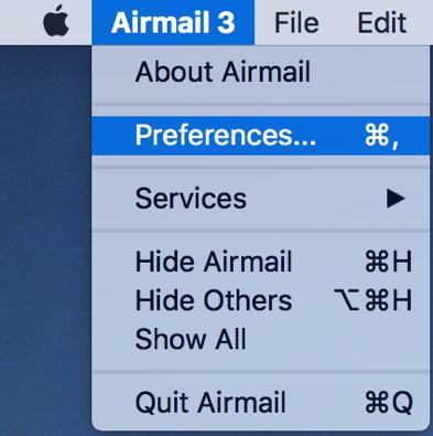 Air Mail 3 Preferences Dropdown